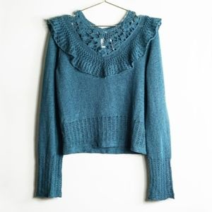 Free People Turquoise Crochet Ruffle Sweater L